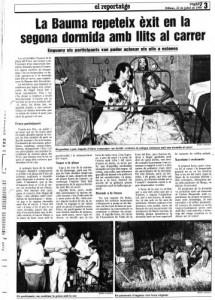 """1990 REGIÓ7Article """"2ª Dormida al Carrer"""