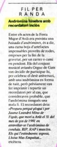 1991 - REGIÓ 7Nota Andròmina Fúnebre ORGUE DE GATS
