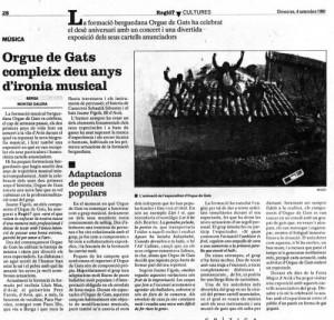 1991 - REGIÓ 7Article Montse Galera. 10 Anys ORGUE DE GATS