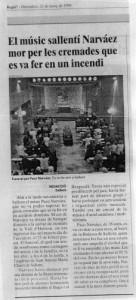 1999 - REGIÓ 7Nota de la mor del músic PACO NARVÁEZ