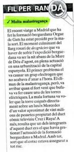 """2001 - REGIÓ 7Nota incidents a Madrid amb """"Cruz y Raya"""""""