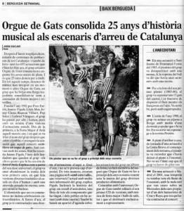 2006 - BERGUEDÀ SETMANALArticle de Jordi Escudé. 25 anys d'ORGUE DE GATS